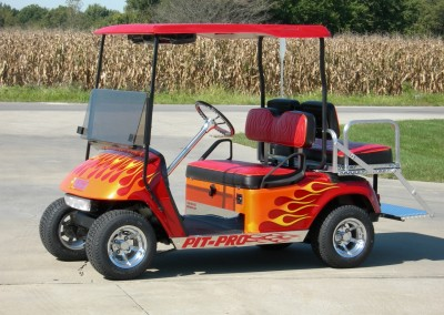 Red with Flames Pit-Pro EZGO TXT