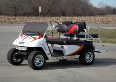 White, Red and Black Pit-Pro EZGO