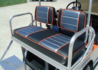 HEAVY DUTY – Stainless steel rear flip seat with custom covers