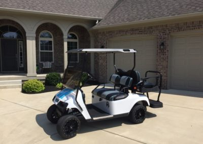 White/Blue racing stripes EZGO TXT Elite Pro